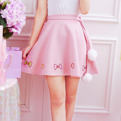 Sweet Bow Fur Ball Skirt
