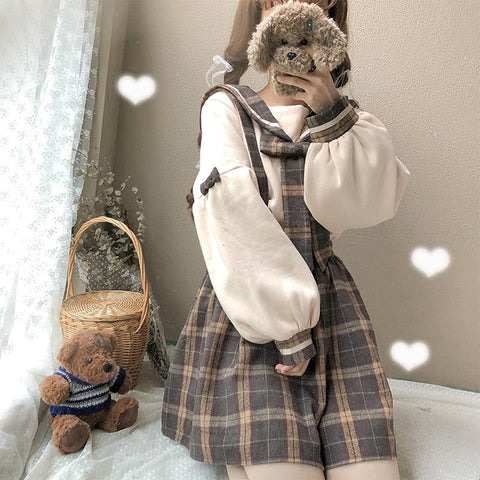 Sweet Grid Bow Collar Shirt/Overalls/Suspender Skirt K13322