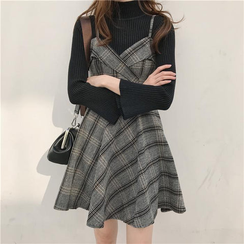 Sweet Grid Suspender Dress/Flare Sleeve Sweater K13377
