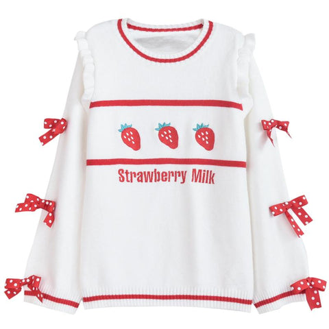 Sweet Bow Strawberry Sweater KW1710815