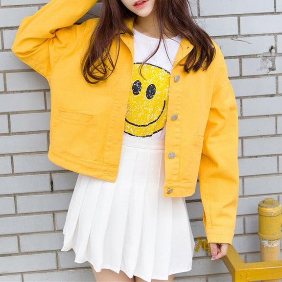 Sweet Candy Color Students Cowboy Coat - kawaiimoristore
