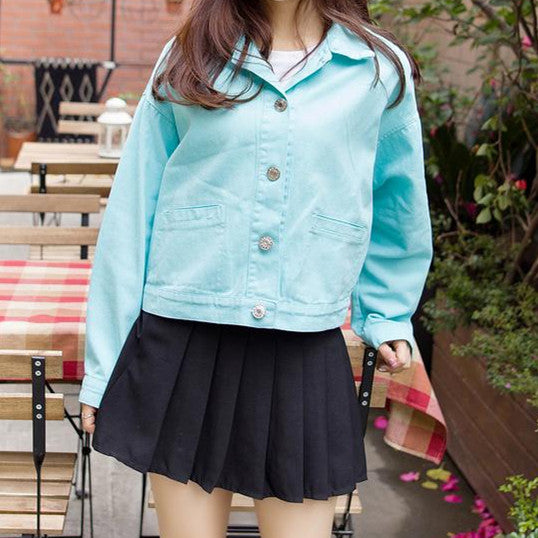 Sweet Candy Color Students Cowboy Coat