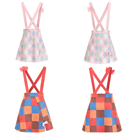 Sweet Grid Bow Braces Skirt