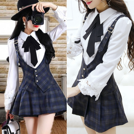 Sweet Grid Braces Skorts/Bowknot Blouse KW1710869