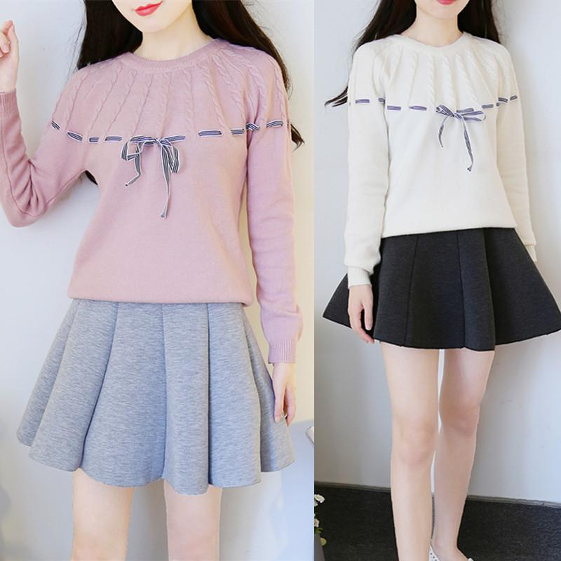 b1bfae383 Sweet Students Sweater + Skirt Two-piece Set KW1711093 – kawaiimoristore
