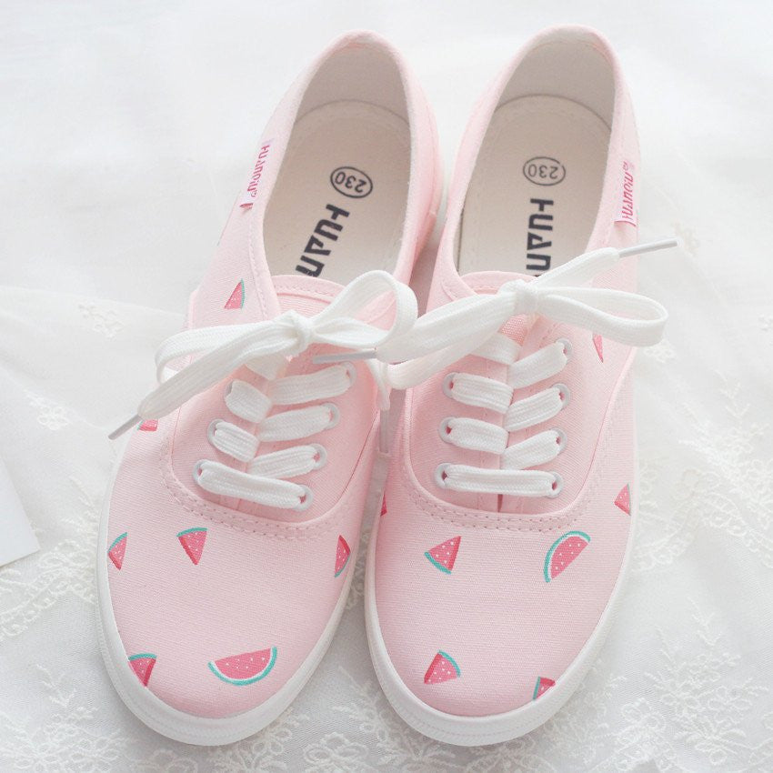 Pink Watermelon Hand-painted Canvas Shoes