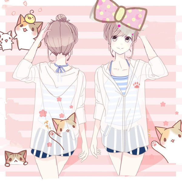 Cute Kawaii Cat Hoodie Transparent Coat KW179905