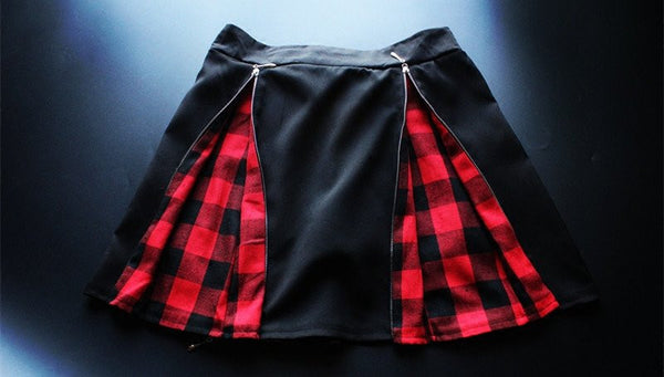 Harajuku Fashion Zipper Braces Skirt