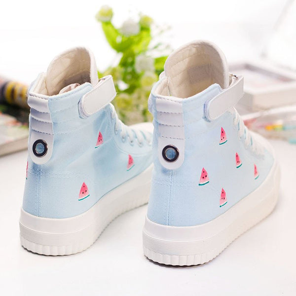 Students Printed Watermelon Hand-painted Canvas Shoes KW1710109