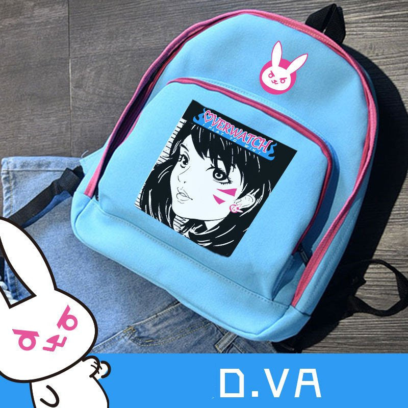Overwatch Blue D.VA Bunny Printed Backpack