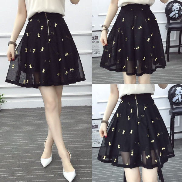 Black Tall Waist Embroidery Skirt - kawaiimoristore