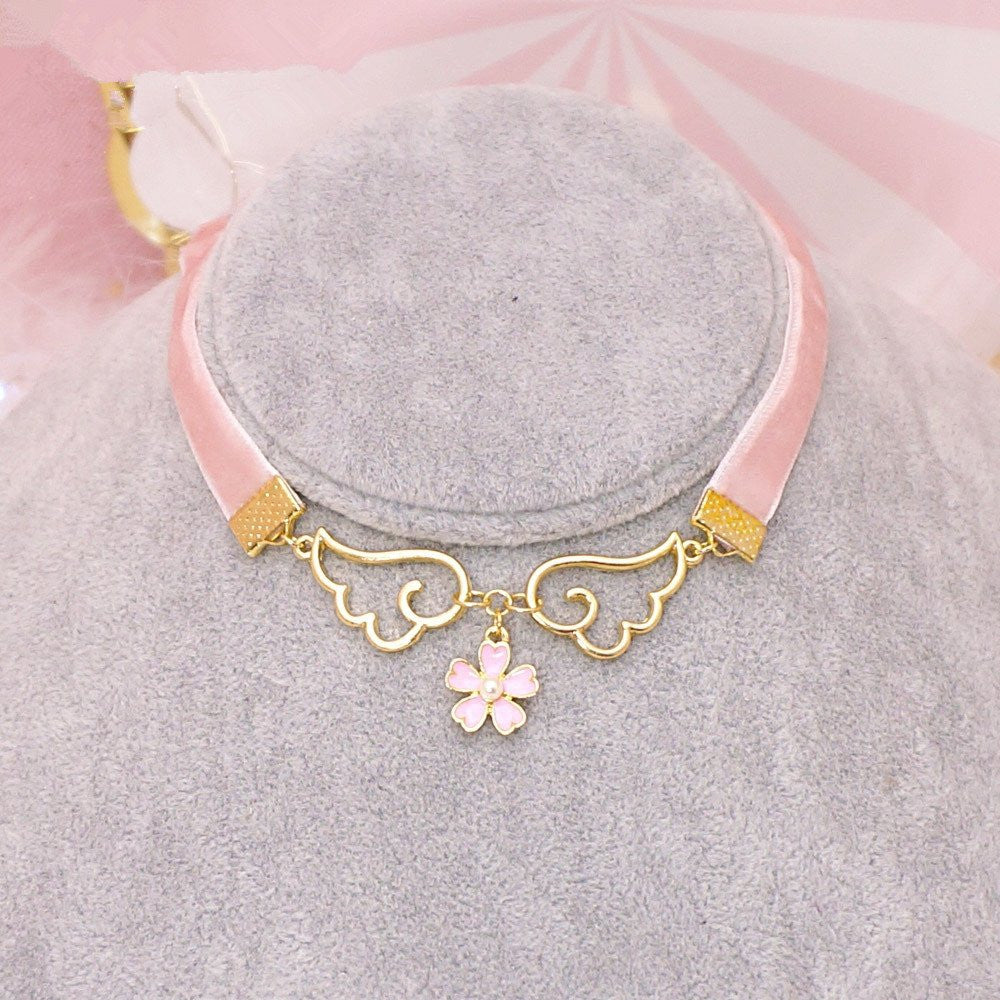 Pink Harajuku Wings Flower Necklace KW179165