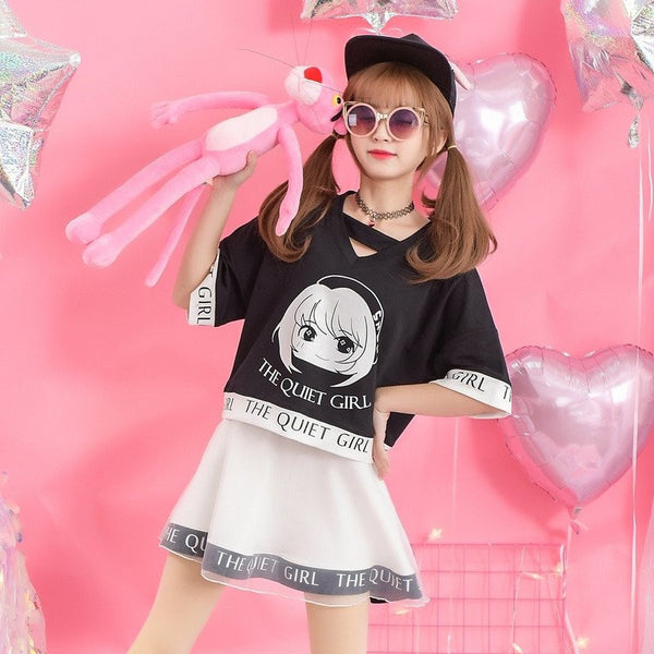 "Japanese Sweet Printed Cute Little Girl ""The Quiet Girl"" Short-sleeved V-neck Loose Shirt"