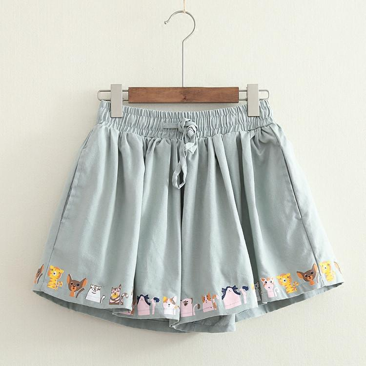 3 Colors Lovely Cats Pleated Shorts