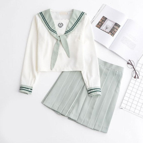Japanese Mint Green Short/Long Sleeve School Uniform+Skirt [S/XXL]