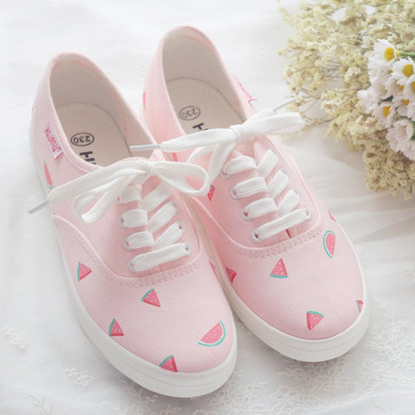 Pink Watermelon Hand-painted Canvas Shoes KW179551