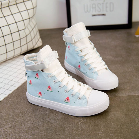 Students Printed Watermelon Hand-painted Canvas Shoes