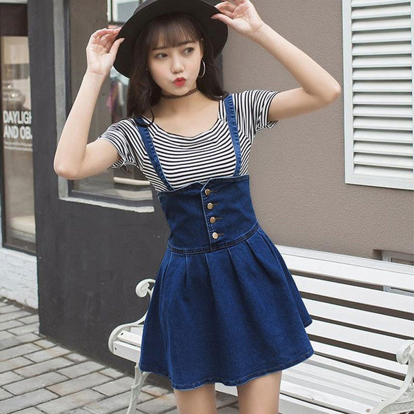 Students Striped T-shirt + cowboy Braces Skirt KW179978