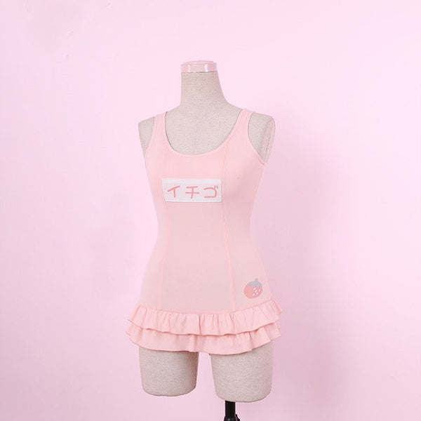 Pre-order Japanese harajuku Pink Strawberry ruffle 1 piece swimsuit (swim suit)