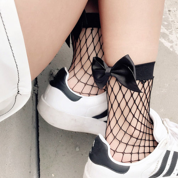 Fishnet Bowknot Socks