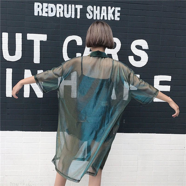 Harajuku Transparent Gradient Blouse Jacket KW179859 - kawaiimoristore