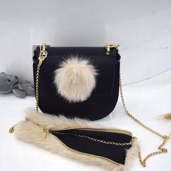 Harajuku Fluffy Black Fur Ball Shoulder Bag