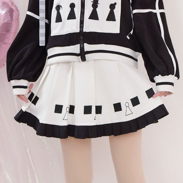 Japanese Sweet Black Embroidered Square Pion High Waist White Skir