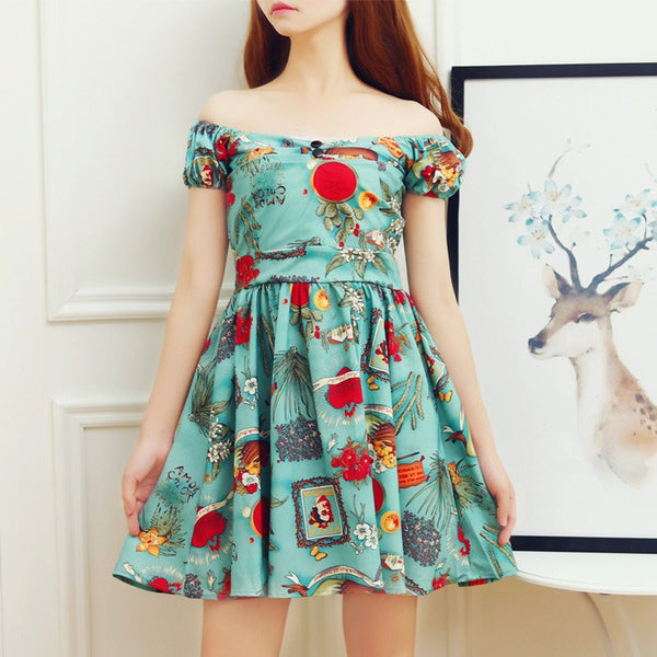 Harajuku Printing Dew Shoulder Dress