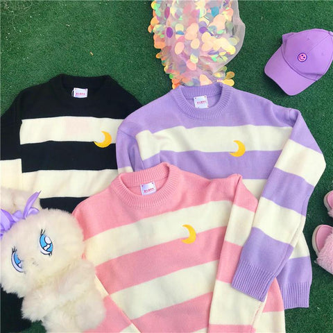 Pink/Purple/Black Kawaii Stripe Moon Sweater K13290