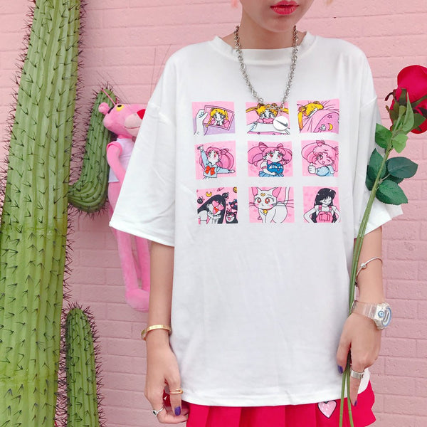 Pink/White Sailor Moon Cartoon Printing T-shirt KW179890 - kawaiimoristore