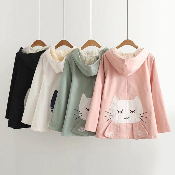 Kawaii Cat Embroidery Lace Hooded Jacket K13007