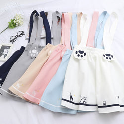 Japanese Harajuku Cute Kitty/Cat Paws Strap Skirt