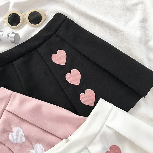 Black/pink/white Students Pleated Skirt