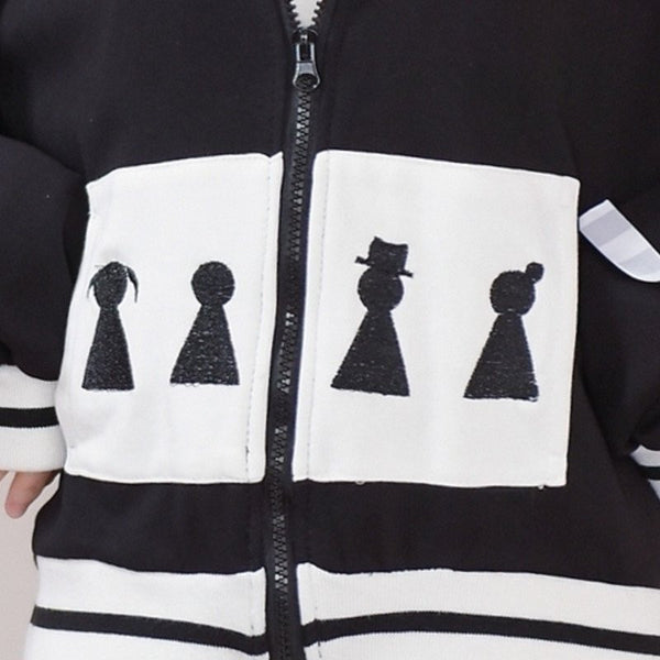 "Japanese Sweet White Square Embroidered Cartoon Poin ""Old Film Black & White Lace Hooded Zipper Sweater jacket - kawaiimoristore"