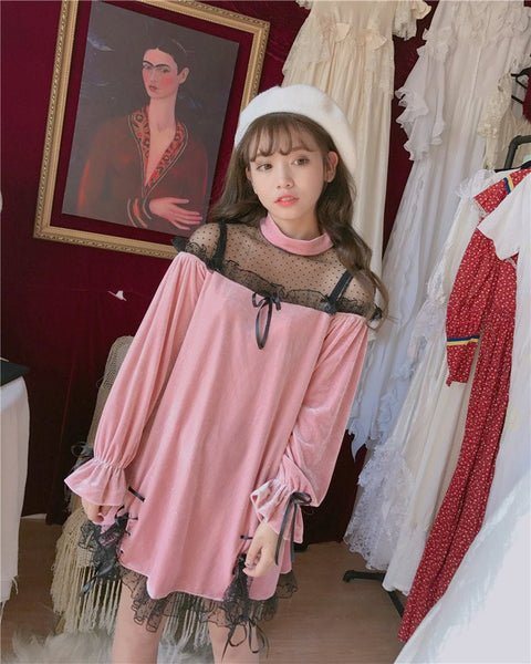 Japanese Harajuku Black&Pink Lace Dress KW179525