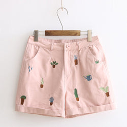 Cactus Embroidery Shorts  KW179104