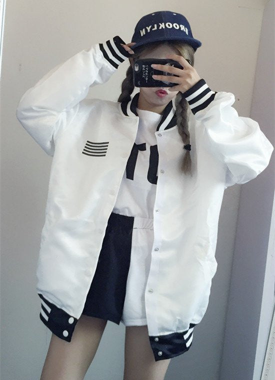 White/black Students Baseball Jacket
