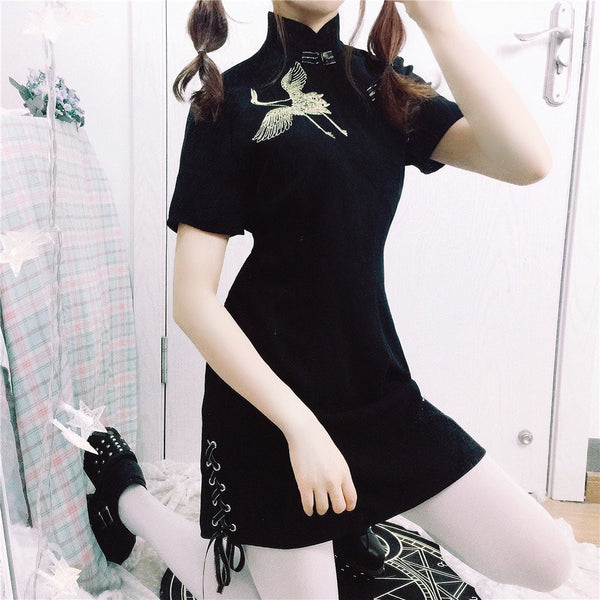 Black Crane Embroidery Cheongsam Dress KW166077