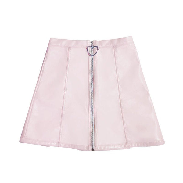 Pink Heart Zipper High Waist Skirt