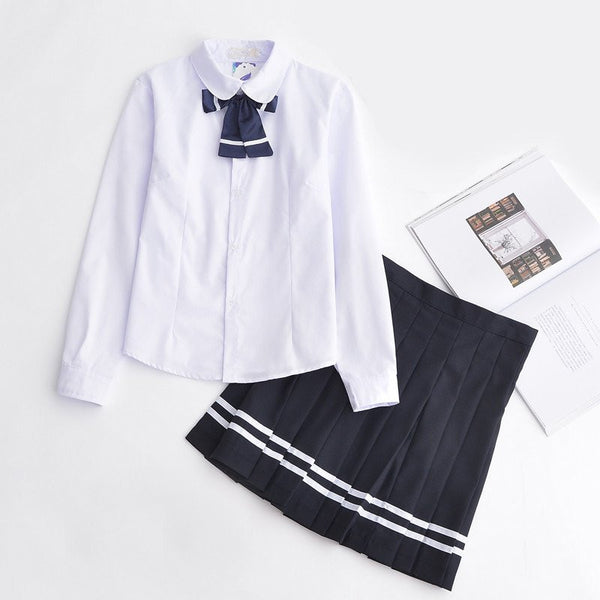 Japanese White Blouse Dark Blue Bow Long Sleeved School Uniform + Skirt [S/XXXL]  KW1812012