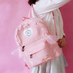Sweet Roses Embroidered Ribbon Hollow-out Backpack