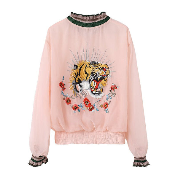 Pink/white/black Zipper Embroidery Jacket