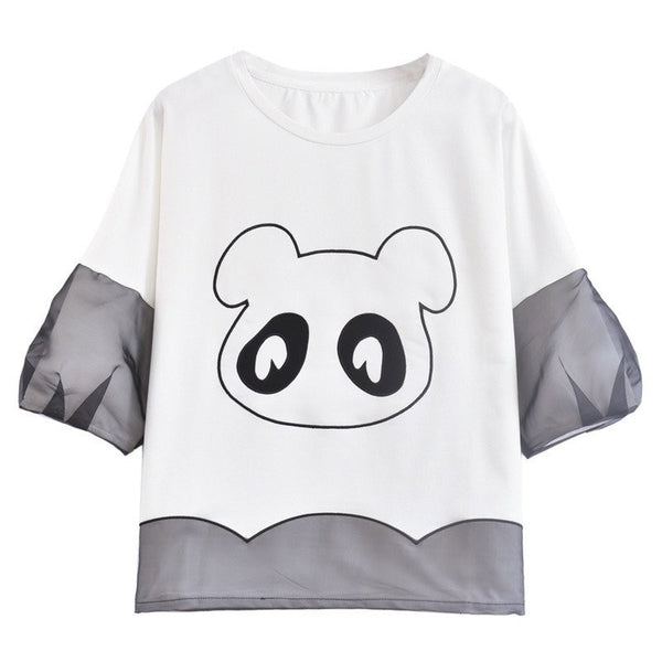 Japanese Sweet Cute Embroidered Panda Lantern-sleeved T-Shirt