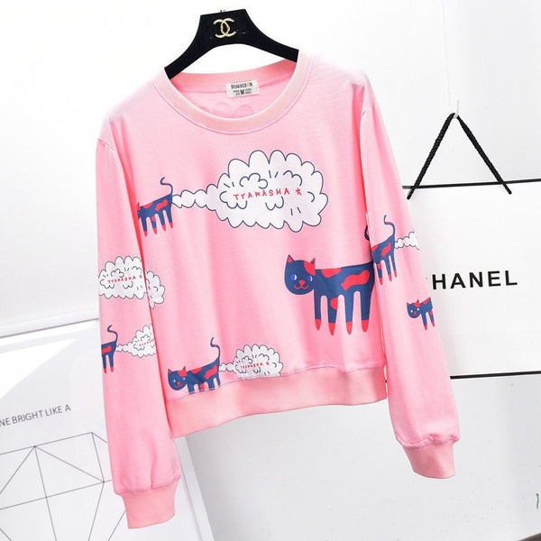Gray/pink/white cat printing fleece pullover