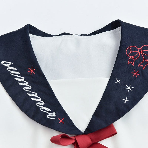 Japanese Bow White&Blue Sailor Dress