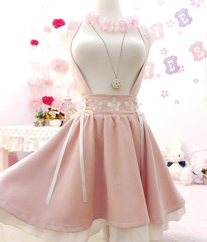 Pink Sakura Suspender Skirt Strap Dress K14499 - kawaiimoristore
