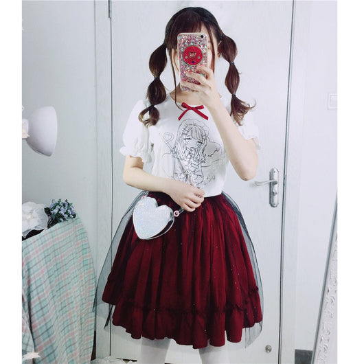 Harajuku Printing T-shirt/Wine Red Skirt