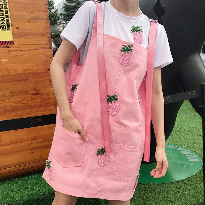 Kawaii Pink/Yellow T-shirt+Braces Skirt Two-piece K12986 - kawaiimoristore
