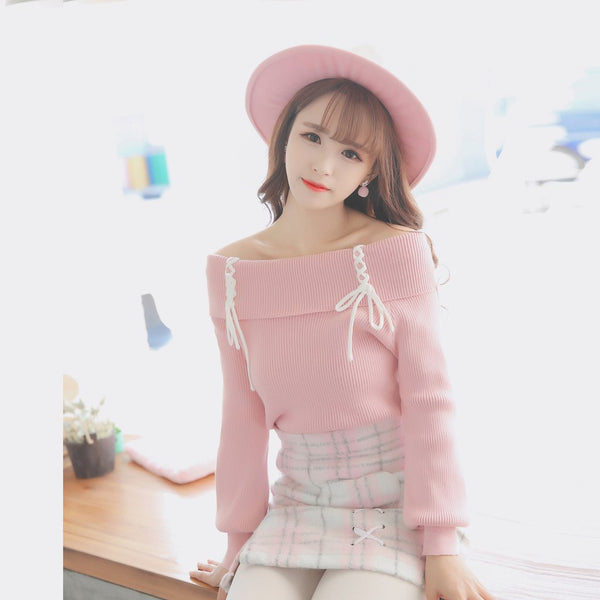Korean Sweet Shoulder-less Long-sleeved Knitted Sweater KW1710141