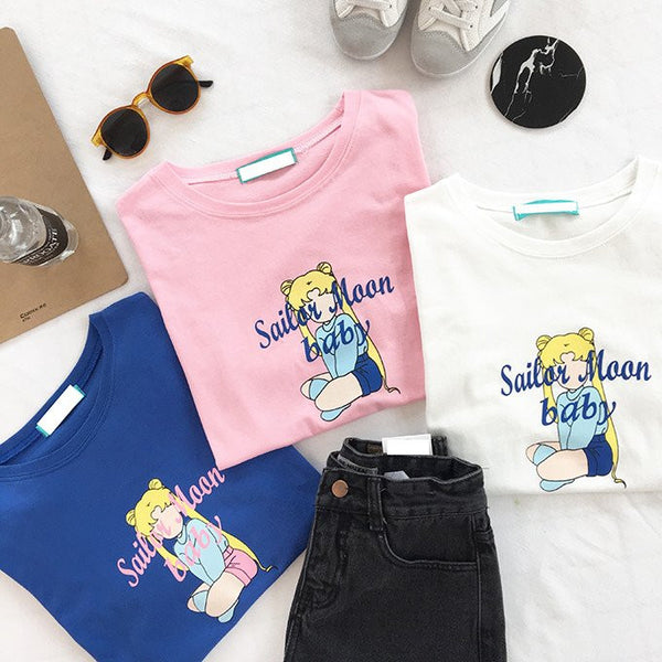 Sailor Moon White/Pink/Blue T-shirt KW1710452